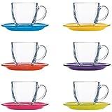 Luminarc Carina Rainbow Cup and Saucer Set, 12-Pieces, Multicolour