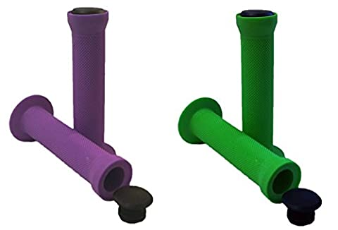 Pair Soft Rubber Flanged Handlebar Replacement Grips For Scooter, BMX, MTB, Bike, Bicycle 22mm diameter 130mm Long in Green and Purple with Black Bung Ends