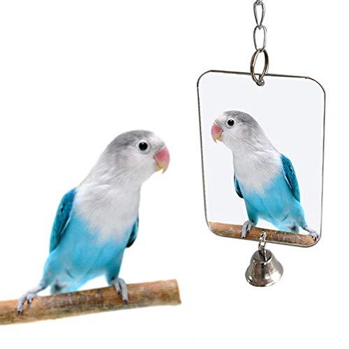 Anjing Mall Vogelglocke für Papageien, Spiegel, Spielzeug zum Aufhängen, Schaukelzubehör, Käfig für Wellensittiche, Aras, Kakadus, Spielzeug (Spielzeug Kakadu)