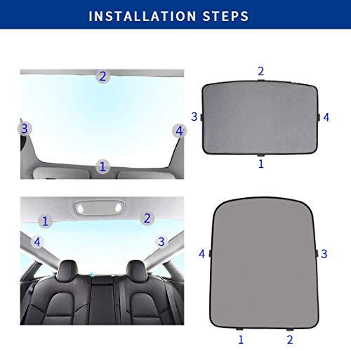 Parasole per tetto anteriore e posteriore in vetro per Tesla Model 3 Basenor Tesla Model 3