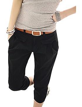 b008753305 Juleya 3 4 Shorts para mujeres - Pantalones Harem capri recortados Cinturón  gratuito Pantalones elásticos