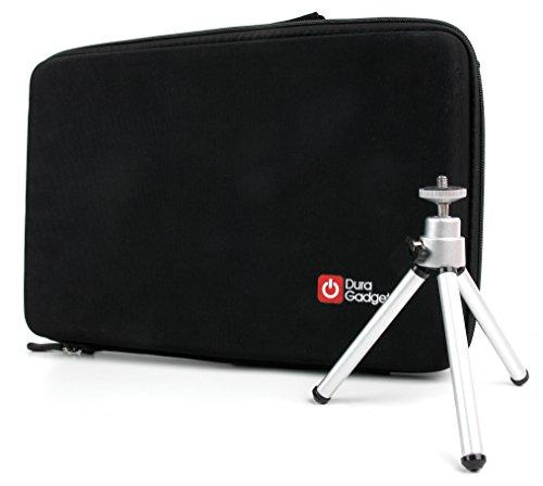 Transport-Tasche mit anpassbarer Schaumstoffeinlage + Mini Stativ für Zoom H4n Pro | H5 | H6 Diktiergerät und Zubehör - von DuraGadget