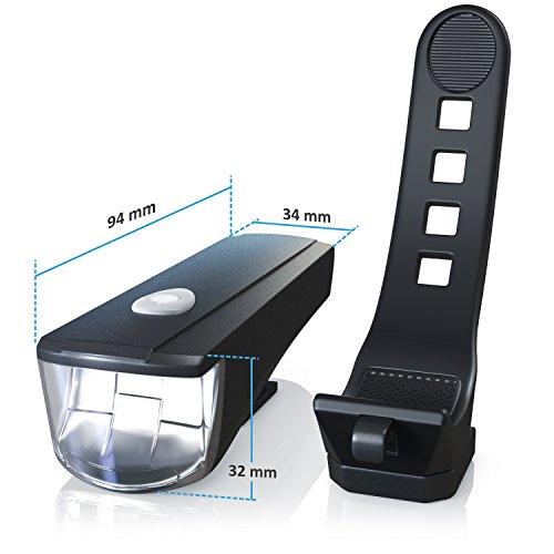 CSL - LED Fahrradbeleuchtung Set StVZO zugelassen | Fahrradlicht / Fahrradlampe / Fahrradleuchte | inkl. Front- und Rücklicht | 1x Lichtstärke-Modus | energiesparend | stoßfest - 2