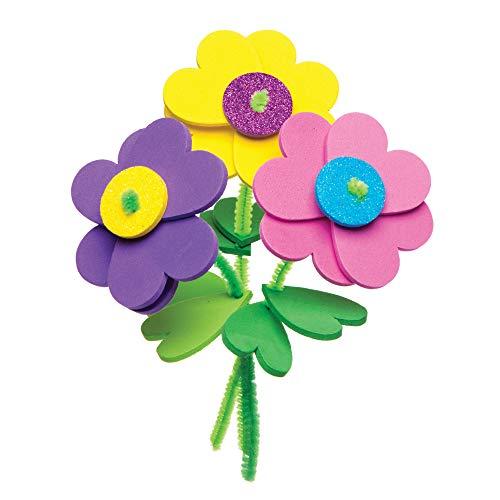 """Baker Ross Stapel-Bastelsets """"Blumen"""" zum Kombinieren (6 Stück) – Frühlings-Bastelidee für Kinder zum Gestalten und Verschenken"""