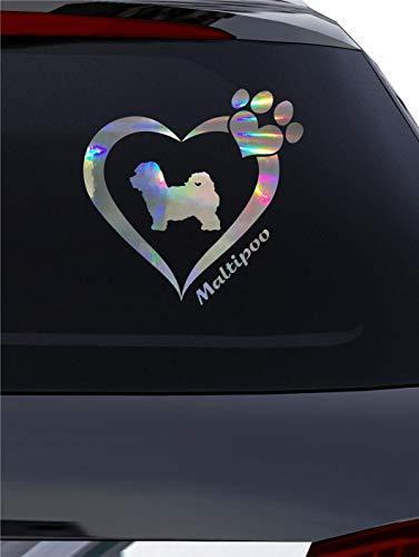 BlingelingShirts Aufkleber Autoaufkleber Maltipoo Herz mit Pfote Hologramm Auto Aufkleber Oil Slick auch für Wand Fenster Wandaufkleber Laptop Wandtattoo
