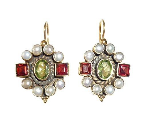 Edelstein-Ohrringe Peridot grün Granat rot echte Süßwasser-Perlen Hänger verschließbar Silber vergoldet Luxus Handarbeit Unikat Italien Vintage elegant