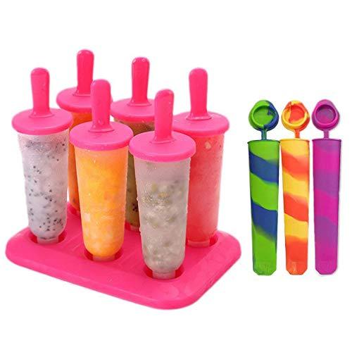 Joyoldelf 6-er Set Eis Lutscher Ice Pop Moulds Maker Eis Forme Wiederverwendbaren Stieleis-Formen für Kinder mit schenken 3 Silikon Eis Lutscher Formen (Rot)