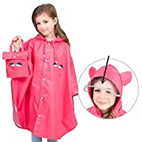 wall-8-CC Raincoat for Children Cartoon Kids Girls Rainproof Rain Coat Waterproof Poncho Boys Rainwear Kindergarten Baby Rainsuit,Style Red,L