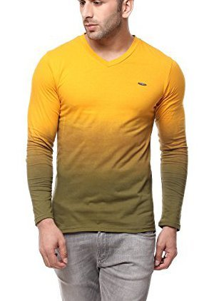 GRITSTONES Men's Yellow Full Sleeve V Neck T Shirt GSFSOMBVNCKYELL (Yellow, Medium)