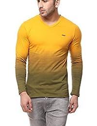 Gritstones Yellow Full Sleeve V Neck T Shirt GSFSOMBVNCKYELL