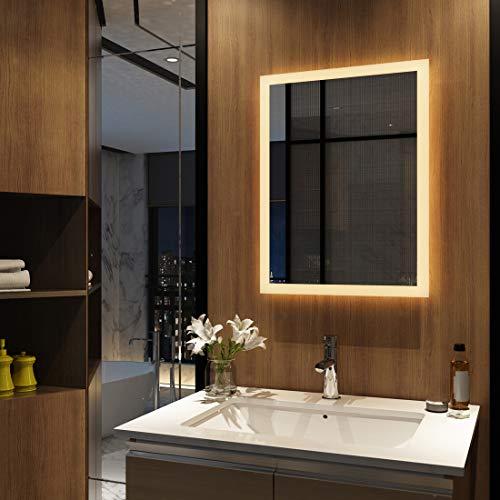 Duschdeluxe Badspiegel Lichtspiegel 50 x 70 cm LED Spiegel Wandspiegel mit Beleuchtung Warmweissen Lichtspiegel IP44 energiesparend