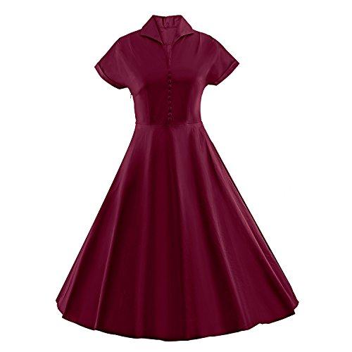Stil Kleider 60er Kostüme Jahre Der (iLover 50s Retro vintage Rockabilly kleid Hepburn Stil shirt Partykleid)