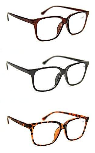 Biofokal Lesebrille Fashion Geek Nerd Unisex Stilvolle Große Rahmen 3 Farben Tortoise-Black-Brown + 1.0+1.5+2.0+2.5 DX2 - Schildpatt
