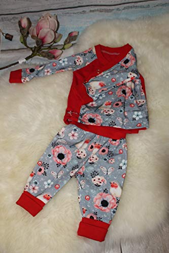 Baby-set outfit Mädchen 2-teilig handmade Pumphose Wickeljacke rot Gr. 56-62 Vögel Unikat