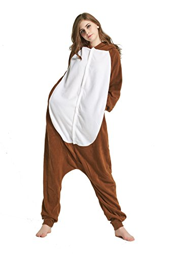 URVIP Erwachsene Unisex Jumpsuit Tier Cartoon Fasching Halloween Pyjama Kostüm Onesie Fleece-Overall Schlafanzug Pavian - Pavian Kostüm