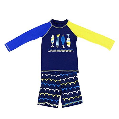 Jungen Langärmelig Badeanzug Bademode- Kinder 2 Stücke Badebekleidung Schwimmen T-Shirt und Badehose M (T-shirt Set LangÄrmeliges)