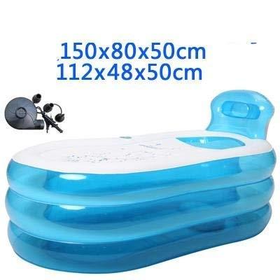 Baignoire, piscines gonflables Taille adulte portable Accueil Baignoire Spa Qualité confortable - 255 litres nouveau modèle et plus fort fermeture éclair, bleu, 150cm Baignoires -,