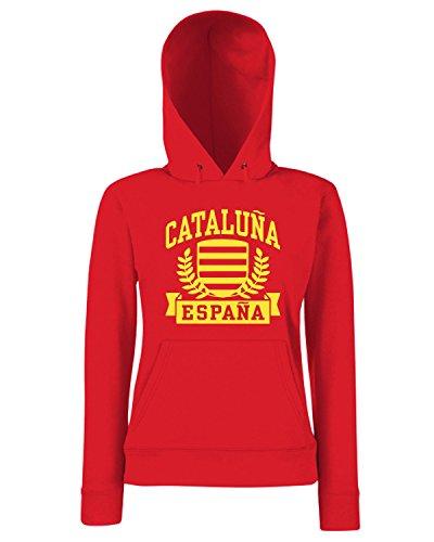 T-Shirtshock - Sweats a capuche Femme TSTEM0227 cataluna espana Rouge