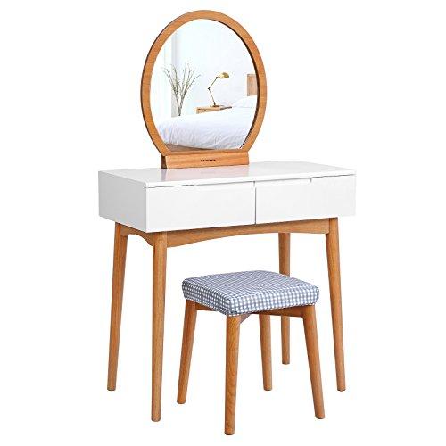 Songmics Schminktisch modern Kosmetiktisch frisiertisch, 2 groB schubladen mit Schienen, mit ovalem Spiegel, abwaschbare Hocker Abdeckung, weiß und naturfarben RDT11K