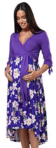 HAPPY MAMA Chelsea Clark Maternidad Midi Alta Baja Dobladillo Vestido