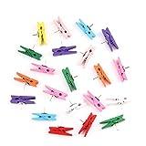 Kobwa Push-Pin mit Holzklammern 50 Stück Reißzwecken Reißzwecken für Fotos, Craft-Projekte, Kork-Boards, Kunstwerke Notizen (bunt/Holz)
