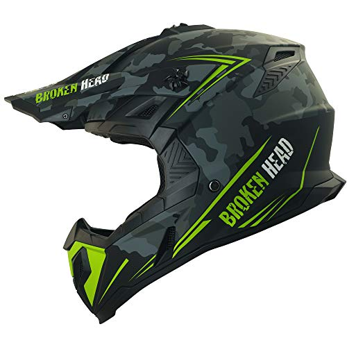 Broken Head Squadron Rebelution camouflage grau Cross-Helm - MX Motocross Helm - Quad-Helm - Sumo-Helm (M 57-58 cm)