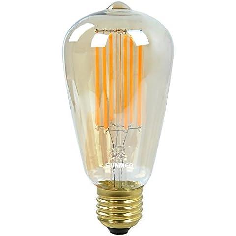 SUNMEG ST64-8W Bombilla Filamento LED , Hogar de Luz de Lámpara, 500 Lúmenes, Equivalente a 50w Bombillas Incandescentes, Suavemente Caliente (2200K), 220V - 240V, E27, 360 Grados de Ángulo del Haz, la Antigüedad del Estilo de Vendimia del Bulbo de Luz de Edison