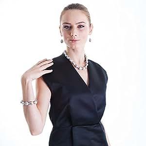 HONG-Collier Femme-Perles d'eau douce baroques Hofmeister Holzwaren Tonnelet avec support en argent Gris-Dimensions :  environ 15 x 22 tailles, pearl et 45 cm de long avec fermeture Silberkarabiener ...