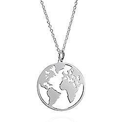 Collar Mundo de Plata de Ley con Cadena de Plata 42 cm. Collar Plata Globo Terraqueo para Regalos Mujer.