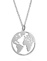 EMPATHY JEWELS Colgante mapamundi de Plata de Ley con Cadena de 42 cm, Collar Plata Mujer un Collar mapamundi para Las mas viajeras.