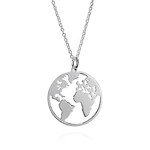 Collar Mundo de Plata de Ley con Cadena de Plata 42 cm. Collar Plata Globo Terraqueo...