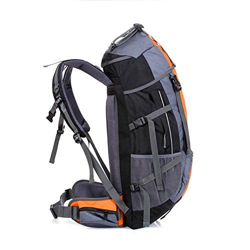Outdoor Camping Rucksack Wasserdicht 55L Wandern Daypack für Herren Frauen unterwegs Klettern Mountaining Radfahren Sports Rucksack Tasche Orange