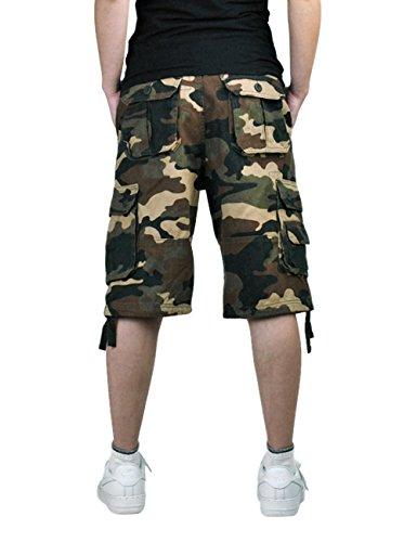 Menschwear Herren Vintage Cargo Shorts Bermuda Kurze Hose Sommer Kurze Hose Khaki