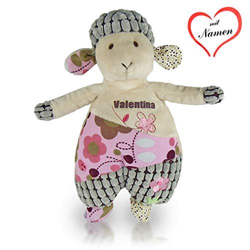 Kuscheltier Schaf mit Namen personalisiert Plüschtier Stofftier mit Rassel für Babys Mädchen (Personalisierte Stofftiere Für Babys)