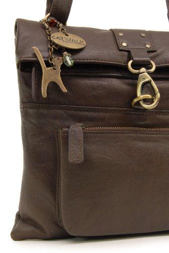 """Umhängetasche """"Dispatch"""" aus Leder von Catwalk Collection - Größe: B: 28 H: 27 T: 3 cm Braun"""