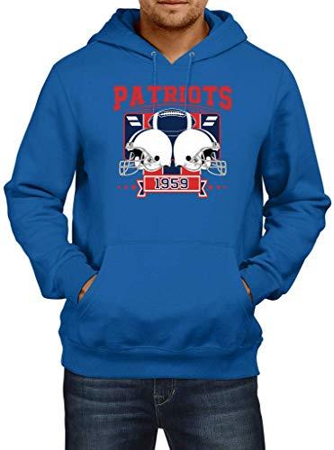 Shirt Happenz Patriots 1959 New England Pats Football An Jedem Verdammten Sonntag Super Bowl Premium Hoodie Herren Kapuzenpullover, Größe:L, Farbe:Blau