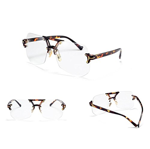 Z&YQSonnenbrille rahmenlose Männer und Frauen Retro einfache transparente Runde Gesicht Mode Trendige Brille, E