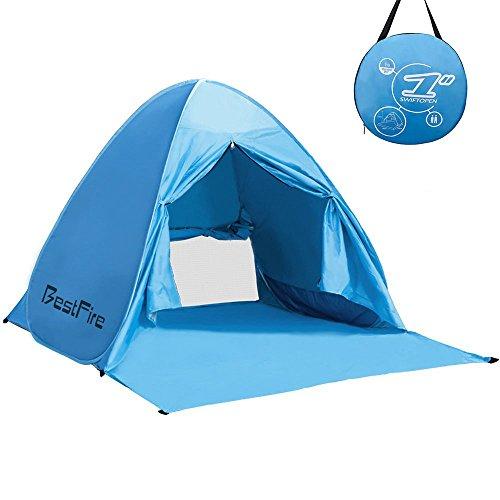 BestFire Outdoor Automatik Pop Up Instant Portable Cabana Strand Zelt Anti UV Baldachin Sun Shade Sport Shelter Sun Shelter für Familie Kinder Baby Outdoor Camping Angeln Picknick Wandern