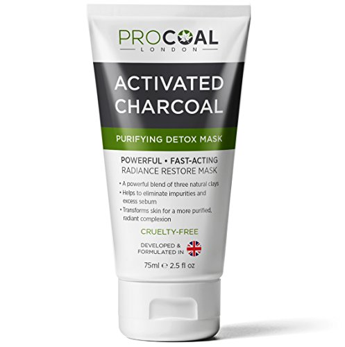 Activated Charcoal Face Mask, Black Mask, Detox Clay Mask For Clear Complexion, Facial Mask for Blackhead, Shrinking Pores, Fighting Acne, Toning Skin, & Removing Impurities - MADE IN UK (1 Unit)