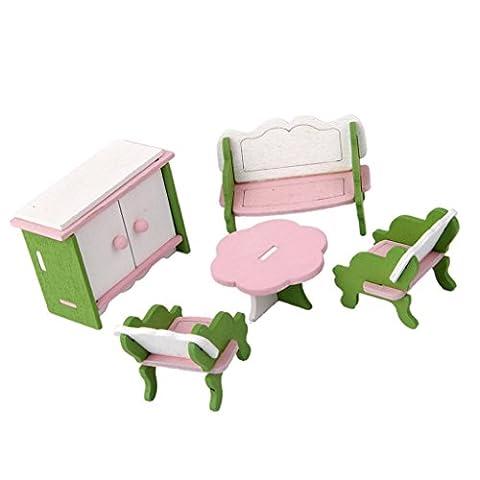 Ensemble Mobilier Salle de Séjour Miniature en Bois pour Maison de Poupée