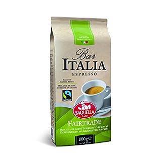 Saquella Fairtrade Espresso aromatisch, stark, leichten Schokoladennote 1 Kg ganze Bohne
