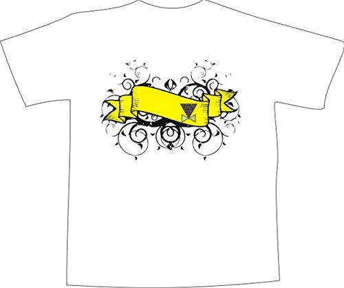 T-Shirt E483 Schönes T-Shirt mit farbigem Brustaufdruck - Logo / Grafik - abstraktes Design - großer Banner mit Ranken als Verzierung Mehrfarbig