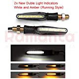 #6: Ramanta New Style 2X Double Colour Flowing Universal Motorcycle Motorbike 15-LED Turn Signal Indicator Lights for Bike, (Pack of 2, White & Amber (Running))