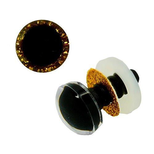 maDDma ® 1 Paar Glitzer-Augen Gold 12mm, Sicherheitsaugen Puppen, Teddies, Kuscheltiere