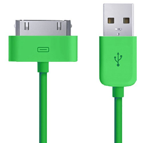 Xtra-Funky Exclusif: cable de chargement/transfert USB 1 mètre pour appareils Apple type iPhone 4 4G 4S 3GS 3G 2G iPod Touch 2 3 4 2ND 3RD 4TH Gen / iPad 1 & 2 32GB 64GB iPod Classic Nano Mini Shuffle (Cable 1M, VERT)