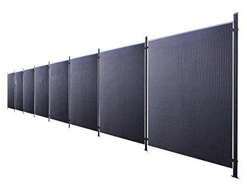 Poly-Rattan Sichtschutz / Zaun-Set 17-teilig schwarz ca. 1514cm Prime Tech