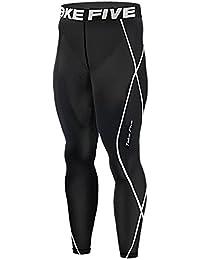 JustOneStyle 011 Leggings de compresión para hombres, para running, color negro