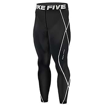 New 011 Skin Tights Compression Leggings Base Layer Black Running Pants Mens (S)