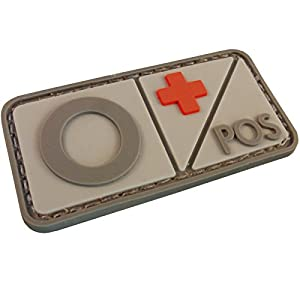 Groupe Sanguin PVC Gomme 3D Velcro Écusson Patch Morale Airsoft Combat Tactical Militaire