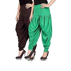 Navyataa Womens Lycra Dhoti Pants For Women Patiyala Dhoti Lycra Salwar Free Size (Pack Of 2) Brown & Green